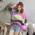 Wool knitwear Average code Fall of 2018 Pink yellow green Long sleeve Sleeve Conventional models Single Thin section Commuting Straight conventional Colorblock Low round neck other 30% and below Korean version Sleeve E8234 Other / other