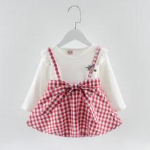 Dress ສິ້ນສາຍ A ຜ້າຝ້າຍ ພາກຮຽນ spring ແລະດູໃບໄມ້ລົ່ນ Other / other 73cm 80cm 85cm 90cm ຜ້າຝ້າຍ 90% ອື່ນໆ 10% ດອກໄມ້ສີແດງ ຍິງ ແຂນຍາວ Lattice