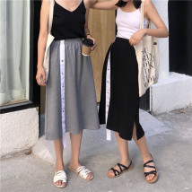 skirt Summer of 2018 Average size Grey black Middle-skirt Versatile Natural waist other other 30% and below