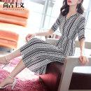 Dress Summer of 2018 stripe SMLXL Mid length dress singleton  elbow sleeve commute V-neck Elastic waist stripe Socket A-line skirt routine tassels