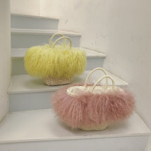Bag handbag grass Straw bag Other / other Cream rubber powder brand new Sweet Lady  travel hard Strip extraction Double root nothing Basket shape weave Hard handle cotton Jam Inner patch pocket