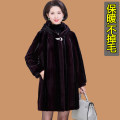 leather and fur Winter 2020 Other / other Black, purple XL,2XL,3XL,4XL,5XL Medium length Long sleeves commute Hood routine other Imitation fur Button