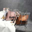 Bag The single shoulder bag Acrylic plastics Small square bag Jiashiqing Brown Pink White brand new Sweet Lady  in leisure time soft no Single root One shoulder cross carry nothing youth letter Chain handle WJ6240
