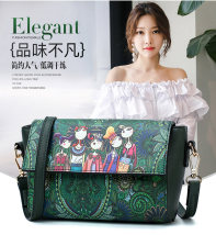Bag The single shoulder bag PU other Other / other green brand new European and American fashion in leisure time soft Cover type no Cartoon animation Single root One shoulder cross nothing youth other Color contrast Telescopic handle acrylic fibres Zipper pocket, mobile phone bag, certificate bag
