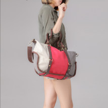 Bag The single shoulder bag canvas Dumplings Fort Buding Red green dark blue orange Dark Khaki sky blue brand new Japan and South Korea in leisure time soft zipper yes Solid color Single root One shoulder cross carry nothing youth Dumpling shape Splicing Soft handle polyester fiber