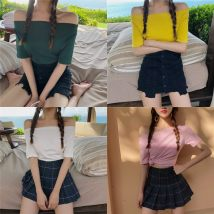 T-shirt Milk apricot fog blue big red water green pink white yellow purple black S M L XL Summer of 2018 Short sleeve One word collar Self cultivation Regular routine commute cotton 86% (inclusive) -95% (inclusive) 18-24 years old Korean version youth Solid color Other / other