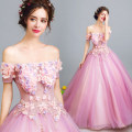 Dress / evening wear Wedding adult party company annual meeting performance XXL XXXL XXS XS S M L XL Barbie powder fashion longuette middle-waisted Winter 2017 Fluffy skirt One shoulder Bandage Netting 18-25 years old 0238 Sleeveless flower Angel wedding dress Handmade flowers