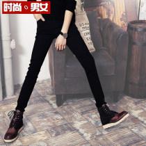 Jeans Youth fashion Gurbaks Black four seasons black thin black 9-point pants with plush thickening routine Micro bomb Regular denim g-101 trousers