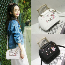 Bag The single shoulder bag PU Shell bag Other / other Pink white blue black brand new Japan and South Korea Small leisure time hard zipper no Plants and flowers Single root One shoulder cross carry Yes youth Conchoidal Embroidery Hard handle polyester fiber Zipper hidden bag sandwich zipper bag
