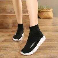 Boots Standard Sneaker Size 36 37 38 39 40 41 42 43 44 black Elastic cloth Wanyongda Low heel (1-3cm) Flat bottom Elastic cloth Short tube Round head