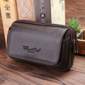 Men's bag Pocket cowhide Cheer soul / hizhixiu Black brown light brown brand new leisure time European and American fashion Cover type soft Small no Zipper pocket, mobile phone bag, certificate bag Solid color nothing middle age Horizontal square polyester fiber Inner patch pocket Autumn 2016