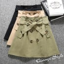 skirt Spring of 2018 Recommendation [s-95] kg Khaki Green Black Short skirt commute High waist A-line skirt Solid color Type A 18-24 years old Frenulum Korean version