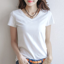 T-shirt White black SMLXL2XL3XL Summer of 2018 Short sleeve V-neck Self cultivation Regular routine commute 18-24 years old Korean version originality Solid color Pure manufacturing six thousand six hundred and nine Cotton 95% polyurethane elastic fiber (spandex) 5% Pure e-commerce (online only)