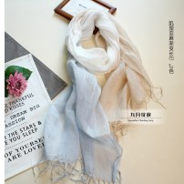 Scarf / silk scarf / Shawl hemp Pink grey gradient blue rice gradient Spring and autumn, summer and winter female Shawl decorate solar system rectangle Students, parents and children, young people Gradients tassels 55cm 180cm L36520