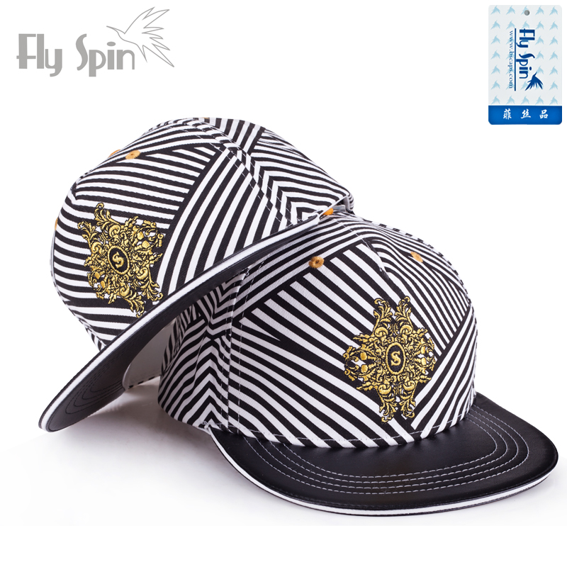 Hat cotton Black stripe 57cm Hip hop hat summer currency street Young couple dome Short eaves 15-19, 20-24, 25-29, 30-34 Hip hop stage Flat eaves
