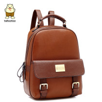 Backpack PU Beibao British Brown Khaki rice white watermelon red blue black brand new in zipper leisure time Double root Retro soft youth no nothing