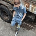 Jeans Youth fashion Others M L XL 2XL 3XL blue routine No bullet Regular denim LT01 Ninth pants Other leisure summer teenagers middle-waisted Conjoined Japanese Retro 2017 Little straight foot zipper washing Multiple pockets Wash cat's whiskers with water cotton