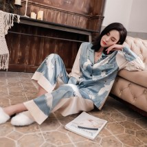 Pajamas / housewear set female Other / other S M L Green short sleeve Blue Short Sleeve green blue nylon Long sleeves luxurious pajamas spring routine Shirt collar other trousers Socket youth 2 pieces rubber string 41% (inclusive) - 60% (inclusive) silk printing 018 200g