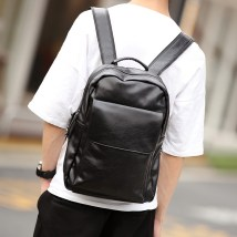 Backpack PU Etonweag / Eaton wig black brand new in zipper leisure time Double root Business / OL soft youth no Handling handle Solid color nothing male All waterproof Vertical square Zipper pocket, mobile phone bag, certificate bag polyester fiber Sewing no 14 inches 9801+7 Inner patch pocket