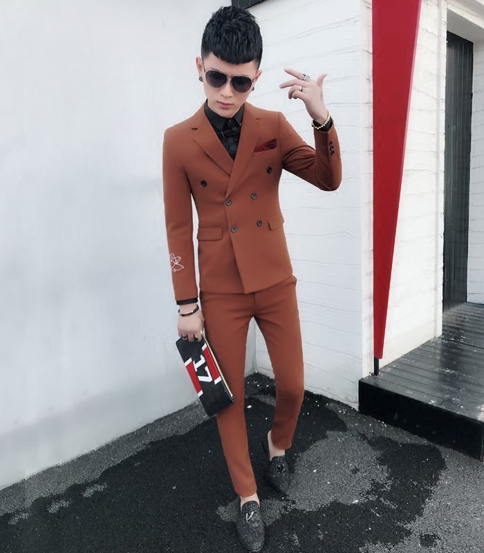 Suit Fashion City Others Khaki black Remind everyone that the clothes size of the store is too small, EMS Shunfeng does not include mail l m XL 2XL routine Double slit Flat lapel spring Self cultivation Two double breasted Other leisure youth tide Regular collar (collar width 7-9cm) 2018 Solid color