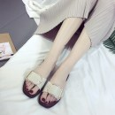 slipper A smaller size needs to be bigger MiniHelisha Black Beige Flat heel Flat heel (1cm or less) plastic cement Summer 2017 One line PVC daily Korean version Injection pressure shoes Solid color Hollow buckle FT1825 PU