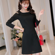 Dress Spring of 2018 Red black SMLXLXXL Short skirt singleton  Long sleeves commute square neck High waist Solid color Socket other Others 25-29 years old Caidaifei Korean version 015RX knitting Polyester 95.9% polyurethane elastic fiber (spandex) 4.1%
