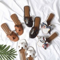 slipper 34 35 36 37 38 39 40 EH Brown White Black Flat bottom Flat heel (1cm or less) top layer leather Summer of 2018 One line TPR (tendon) daily Europe and America Adhesive shoes Youth (18-40 years old) Solid color rhinestone D521-0125 Sheepskin Napa pattern