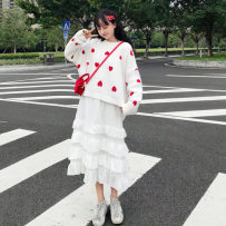 Fashion suit Autumn of 2018 Average size White sweater one piece red sweater one piece cake skirt one piece pleated pants one piece 18-25 years old Other / other Eight hundred 96% and above polyester fiber