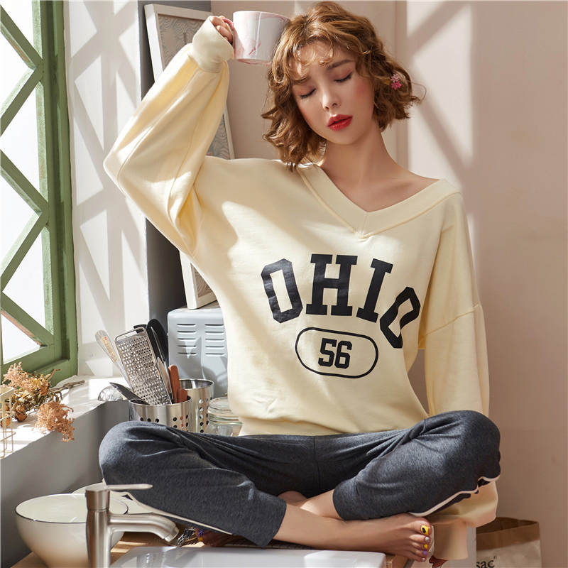 Pajamas / housewear set female Other / other Pay attention to 2 sets of small gifts sent by the store, and automatically reduce 5 yuan ml XL XXL WL × 6670 cotton Long sleeves Sweet pajamas autumn routine Crew neck letter trousers Socket youth 2 pieces rubber string Knitted cotton fabric printing