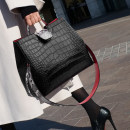 Bag The single shoulder bag PU Bucket bag Other / other Black large black small brand new European and American fashion in leisure time soft zipper no