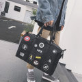 Men's bag handbag oxford Other / other black brand new leisure time Japan and South Korea zipper soft large no Mobile phone bag certificate bag Cartoon animation Yes Single root youth Horizontal square Embroidery Soft handle