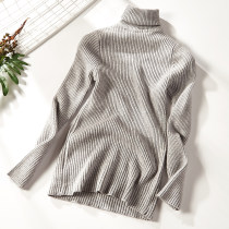 Wool knitwear Autumn of 2018 Average size Grey 2008-a45 Long sleeves singleton  Socket acrylic fibres 51% (inclusive) - 70% (inclusive) Regular routine Sweet Self cultivation High collar routine Solid color Socket Splicing