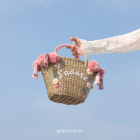 Bag handbag grass Straw bag JACD Powder ball brand new Japan and South Korea Small leisure time soft no Solid color nothing youth Basket shape weave