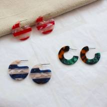 Ear Studs Alloy / silver / gold RMB 1.00-9.99 Other / other Red transparent leopard print dark green ink blue transparent brand new Europe and America