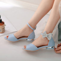 Sandals White Blue Pink Other / other PU Fish mouth Flat bottom Flat heel (1cm or less) Summer of 2018 Flat buckle Sweet Solid color Adhesive shoes Youth (18-40 years old) children (under 18 years old) TPR (tendon) daily Bag heel bow Low Gang Hollow PU PU Shaving One One
