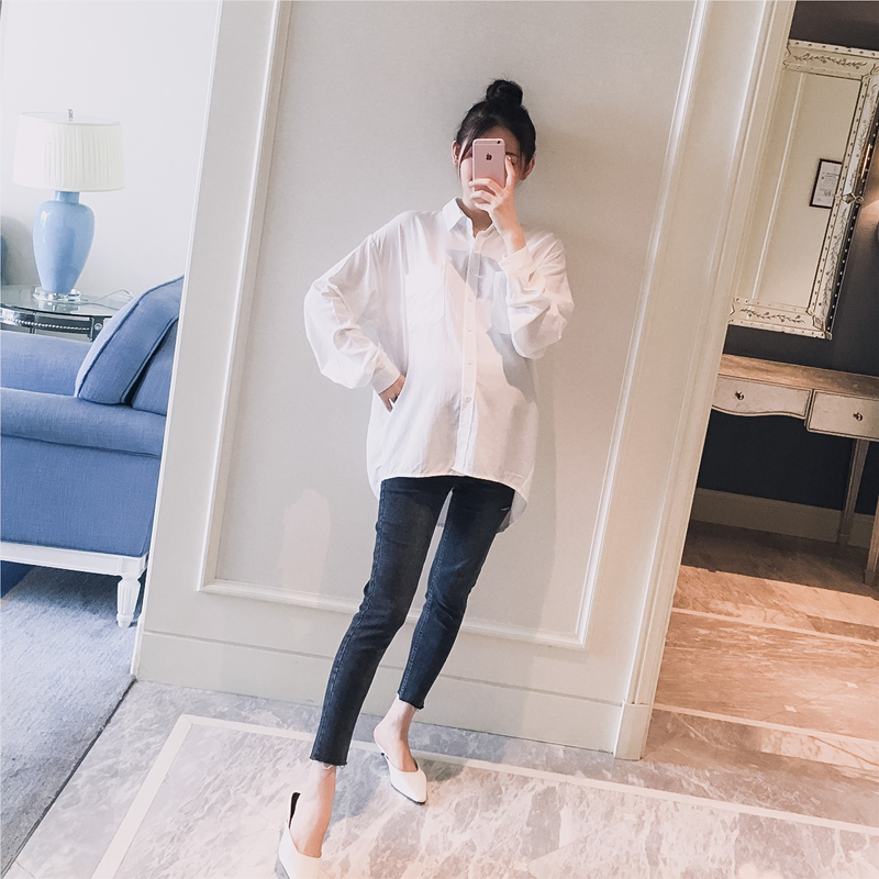 Shirt / Chiffon Long sleeves Other / other white Average size Solid color Lapel Korean version spring and autumn Pure cotton (95% and above)