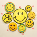 Cloth stickers #1 #2 #3 #6 #7 #8 Smiling face cloth paste DIY Geometric pattern Yellow cartoon smile