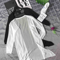 Wool knitwear Average code Summer of 2018 White black Cardigan Long section Single conventional Commuting Straight conventional Pure color V collar