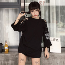T-shirt White black Average code Five sleeves Summer of 2018 Round neck Long section Loose conventional Commuting Polyester 18-24 years old youth