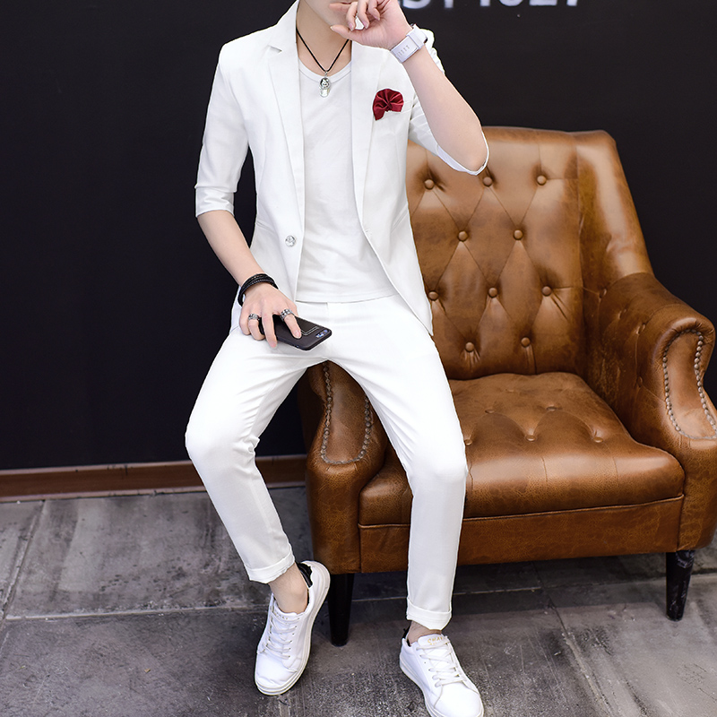 Suit Youth fashion Others White gray pink sky blue M L XL 2XL 3XL thin No slits Flat lapel summer Self cultivation A single breasted button go to work five thousand one hundred and ten youth tide Polyester fiber 94.9% polyurethane elastic fiber (spandex) 5.1% Regular collar (collar width 7-9cm) 2017