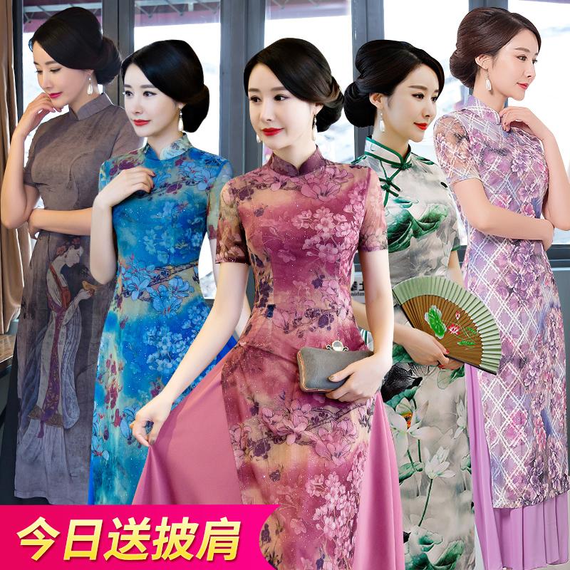 cheongsam Summer 2017 4XL XXL XXXL S M L XL Short sleeve long cheongsam grace High slit daily Oblique lapel Decor Piping Oder cheongsam is authentic in Vietnam other