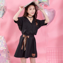 short coat Summer of 2018 XS S M L black elbow sleeve routine routine singleton  Straight cylinder Sweet routine tailored collar Single breasted other