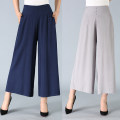 Casual pants Grey black green Navy XL 2XL 3XL Summer of 2018 Ninth pants Wide leg pants High waist commute Thin money 40-49 years old Other / other