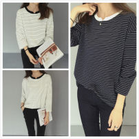T-shirt Decor pre-sale White Navy Average size Fall 2017 Long sleeves easy routine commute cotton 86% (inclusive) -95% (inclusive) Simplicity Thin horizontal stripe Other / other