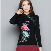 T-shirt black M L XL 2XL 3XL 4XL Fall 2017 Long sleeves stand collar Self cultivation Regular routine commute cotton 86% (inclusive) -95% (inclusive) literature literature Plants and flowers Embroidery