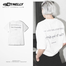 T-shirt Youth fashion white routine S M L XL 2XL 3XL HEYBIG Short sleeve Crew neck easy Other leisure summer THDX2121XX Cotton 100% teenagers routine Hip hop 2018 other printing cotton other