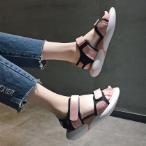 Sandals 35 36 37 38 39 Pink white Beibeile PU Fish mouth Flat bottom Low heel (1-3cm) Summer of 2018 Velcro Korean version Solid color Adhesive shoes