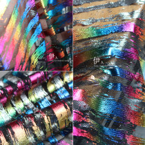 Fabric / fabric / handmade DIY fabric chemical fiber Colorful bar screen with black background (half meter price) sample 10cm * 10cm Loose shear piece Solid color printing and dyeing clothing Europe and America Nuantai Colorful striped screen with black background