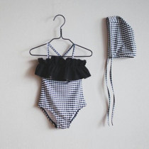 Bathing suit 90cm 100cm 110cm 120cm 130cm 140cm 150cm 160cm Other 100% Black and white check swimsuit + swimming circle Other / other female Children's one piece swimsuit
