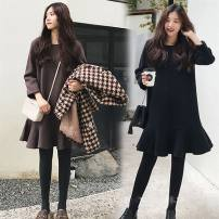 Dress Spring of 2018 Black Brown L XL 2XL 3XL 4XL Mid length dress singleton  Long sleeves commute Crew neck Loose waist Solid color Socket Ruffle Skirt routine 18-24 years old Type A Other / other Korean version Resin fixation More than 95% cotton
